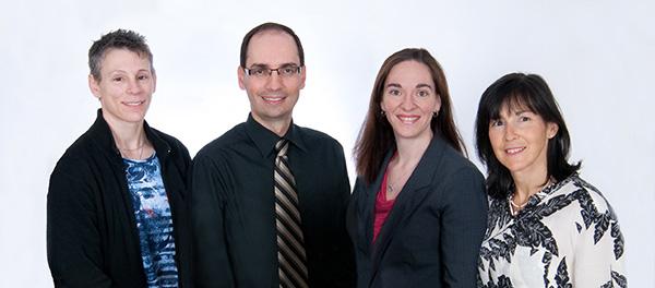 Les professeurs en charge du programme de fellowship en oncologie gynécologique, Marie-Claude Renaud, Jean Grégoire, Alexandra Sebastianelli et Marie Plante.