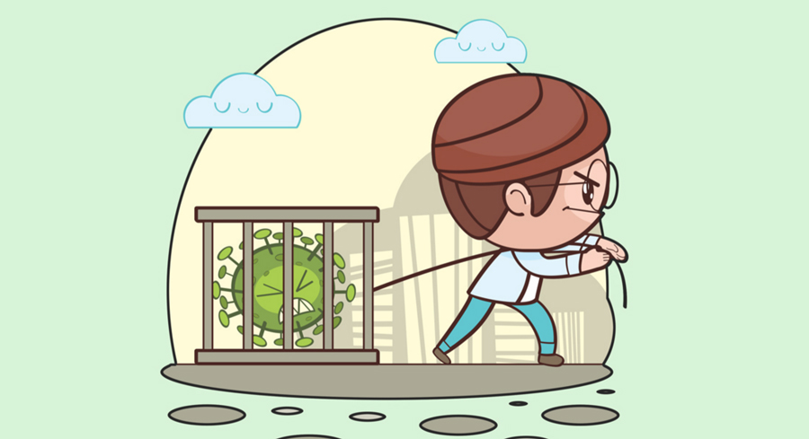illustration enfant et virus en cage