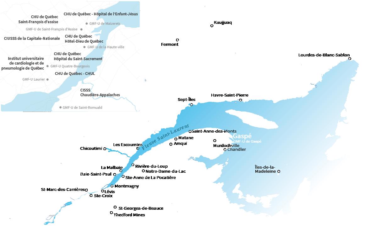 Carte du réseau de formation clinique